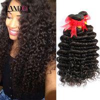al por mayor grado 7a peruana rizada-Brazilian Wave Deep Curly Hair Weave Bundles sin procesar 7A grado peruano indonesio malasio camboyano brasileño rizado extensiones de pelo