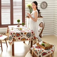 Wholesale Colorful fabric rustic floral big size table cloth for home wedding outdoors retro style design table cover cushion cover