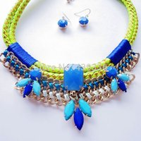 Wholesale Hand Making Necklace Mixed Color Fashion Collar Necklace Statement Rope Necklace New Design Necklace