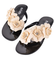 beautiful flip flops - New Summer Hot Women Sandals With Beautiful Camellia Flower Sweet Flip Flops
