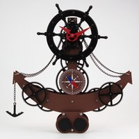 abs dynamic - High grade Luxury Fashion Creative Gear Clock ABS And Metal Material Ship Helmsman Dynamic Souvenirs Clocks Colors Available