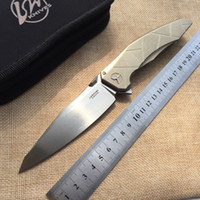 Wholesale High quality LW AH APACHE knife Blade M390 satin Handle TC4 Plane bearing outdoor camping Folding knife EDC