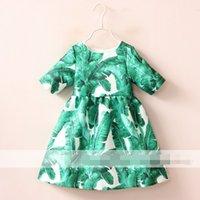 Wholesale Cute Kids Girls Summer Hot Style Print Sundress Ruffles Print Green Leaf Pretty Girls Summer Dress