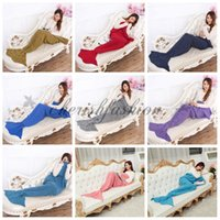 Wholesale 16 colors Adult and Kids Mermaid Tail Blanket Sleeping Bags Warm and Soft Blankets Crocheted Bedding Wrap Sofa air condition Blankets M421