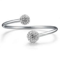 achat en gros de bijoux perceuse à main-Bracelets en argent coréen tchèque perçage des bracelets ouverts 30% 925 Bracelet en argent sterling femmes mariage Shamballa Bijoux en cristal main de la boule