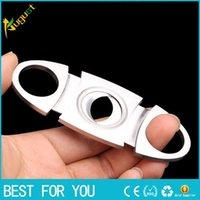 Wholesale New hot High grade cigarette Double Blades Stainless Steel Cigar Cutter Pocket smoking cigar Gadgets Cutter Knife Cuban CIGAR Scissors