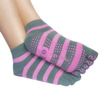 anti slip grip socks - Women Professional Anti Slip Socks Sport Exercise Pilates Socks Half Toe Ankle Grip Calcetines