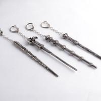 ball cane - 10pcs vintage Argent alloy Harry Potter cane crutch Ronald Hermione Dumbledore Magic wand Stick key chain key ring men Hot y017