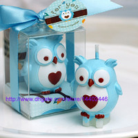 Wholesale 50pcs Owl Candle Birthday Party Pink Favor Gift Box Baby Shower Heart Animal Theme Cake Top