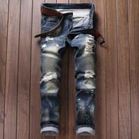al por mayor trajes de trabajo para los hombres-Nuevos pantalones vaqueros flacos del motorista de la alta calidad de los pantalones vaqueros del balmain de los hombres del diseñador para los hombres Pantalones vaqueros rasgados balmaied de la manera de los pantalones vaqueros aptos del dril de algodón