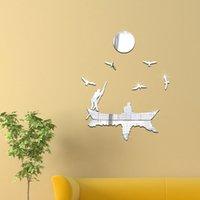 Wholesale Mirror stickers Seagull boat movement Creative D three dimensional decorative acrylic mirror new European and American fashion