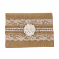 Wholesale Burlap Wedding Guest Book with Lace Ribbons Bow Flowers Pearls for Bridal Birthday Party Reception Wedding Favors Decorations