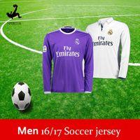 Wholesale New Real Madrid long sleeve soccer jerseys uniform home white away Purple Ronaldo james bale benzema kroos modric football shirts