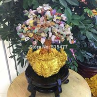 antique tree light - natural mixed color quartz crystal lucky tree bring in wealth and treasure fortune tree