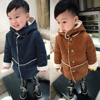 Wholesale 2017 New Autumn Winter Boys Girls Long Coats With Cap Colors Children Thick Outwear Baby Kids Lamb Wool Clothing Infant Toddlers Warm Coat