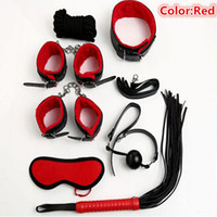 Cheap Leather Sex Bondage Kit Set 7 Pcs Adult Games Toys Hand Cuffs Footcuff Whip Rope Blindfold Mask Mouth Gag for Couples Products