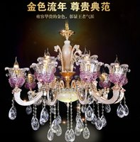 alloys compounds - Luminaire Lamparas Zinc Alloy European Purple Crystal Droplight Jade Pendant Lamp Sitting Room Dining room Compound Floor Marble Chandeliers