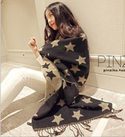 Wholesale European Style Double Cashmere Long Scarf Tassel Shawl Five pointed Star Brand Design Women Winter Scarves Poncho Cape HOT HJIA781