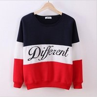 Wholesale tracksuit women sweatshirts crop tops sutumn new fund spelling color letter round neck long sleeve pullover sweater fashion cotton hot