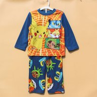 Wholesale Poke go Pikachu Boy girl Pajamas new children terylene cartoon pocket monster long Sleeve Pants Suits baby clothes B
