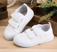 Wholesale Canvas children shoes kindergarten Pure white cloth shoes boy and girl students hook sneaker shoes size
