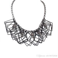 Wholesale 2016 New Jewelry Europe Irregular Quadrilateral Geometry Chain Necklace Exaggerated Version of Clavicle Chokers for Women Party