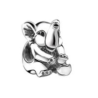 Wholesale Hot Sale Sterling Silver Charms Lucky Elephant European Charm Beads Fit Snake Chain Bracelet Bangle DIY Original Jewelry Making