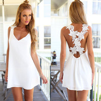 Wholesale 2016 Summer White Lace Chiffon Floral Dress V Neck Straps Halter Sleeveless Casual Bandage Party Mini Dresses Women Beach Wear NSHA3