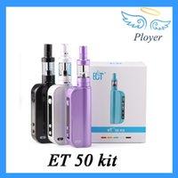 Cheap ECT ET 50 Kit VW 50W Mod 2200mah ET50 Battery 2.5ml mini fog airflow control atomizers Gift Box 0268007