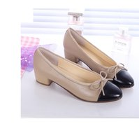 adhesive rubber sheets - The same style CH small round head flat sheepskin flat sheet with ballet shoes small sweet bowknot leather shoes