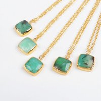 australia copper - Hot Square Shape Gold Plated Australia Jade Stone Pendant Bead Fashion Jewelry Necklace Best Gift G381 N