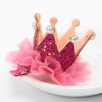 Wholesale 2016 Baby Lace Flower Headband toddler infant Crown Girl Headwear Sequin Elastic Kids Children Clip Hair Accessories Barrettes style