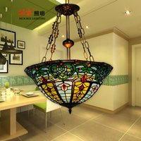 Wholesale Tiffany Chandelier Retro Colourful glass high quality hand made sunflower chain pendant lighting dining room light restaurant inches