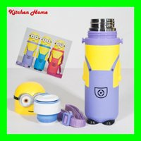 Wholesale 380ML Cute Yellow Minions Design Water Bottle Kids Gifts Kettle Cute Animal Cartoon Children Babies Vacuum Glass Cups for Kinds Bottles