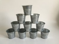 balcony flower boxes - 10Pcs Mini pots D5 H5CM Planter Galvanized garden Rustic balcony bucket tin box Iron pots metal cup for Succulent