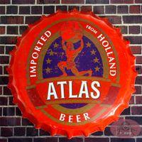 antique atlas - Round Sign quot ATLAS quot Creative Vintage Iron Beer Bottle Cap Restaurant Bar Pub Home Decor Craft Wall Painting cm RM