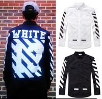 Wholesale High quality men OFF WHITE striped button down shirts cotton long sleeve shirts men off white black fashion brand clothing