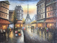Wholesale Paris street painting PALETTE KNIFE Oil Painting On Canvas bay Hand Size W90CM L120CM