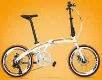 bicycle brake types - 20 inch folding bikes Seven speed lightweight aluminium alloy double disc brake type men and women folding bicycles tb250908