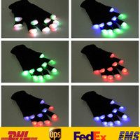 Wholesale Fashion Led Flash Five Fingers Gloves Unisex Women Men Bare Wrist Light Luminous Gloves Of Party Halloween XMAS Accessores Gifts HH G01