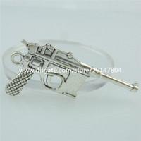 antique weapons - 14858 PC Alloy Antique Silver Vintage Weapon Pistol Handgun Pendant Gun Dangle