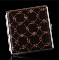 Wholesale Popular diverse styles leather material cigarette case Men square dermatoglyph ultra thin automatic cigarette box