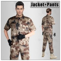 Wholesale with Pants Camouflage Suit Sets Army Uniform Combat Jacket Pants Tactical Outdoors Army Sport Suit Training Dust