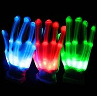 Wholesale Halloween Glove Cool Gift For Friends Led Gloves with different colors Light Up LED Skeleton Hand Gloves Shinning At Night