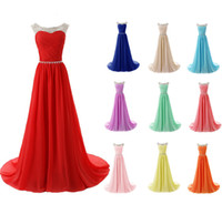 Wholesale New Sexy Sheer Sleeveless Chiffon Floor Length Beaded Evening Dresses Sweep Train Prom Dresses Long Occasion Dresses