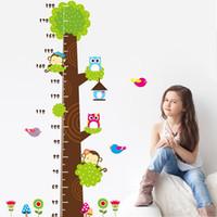 Lovey Monkey Pájaros Owls Árbol Animal Niños Gráficos de crecimiento Stickers de pared Niños Medida de altura Decoración de pared