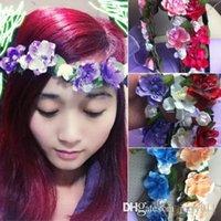 Wholesale Women s Bohemian Floral Flower Rose Party Wedding Hair Wreaths Headband Hair Band OOI