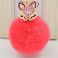 Wholesale 2016 New Gift Cute Bling Rhinestone Fox Real Rabbit Fur Ball Fluffy Keychain Car Key Chain Ring Pendant For Bag Charm Hotsale