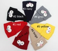 big bird hats - 2016 Solid Highly elastic Autumn Winter Cartoon Birds Child knitted hat kids girls big eyes Pointy hats Age for years old