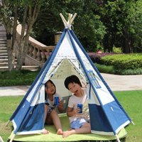 Wholesale Blue and white cotton canvas tent children play tent outdoor tent for kids